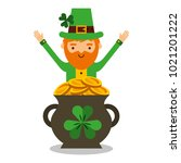cartoon leprechaun with pot... | Shutterstock .eps vector #1021201222