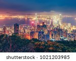 scenic view over hong kong... | Shutterstock . vector #1021203985
