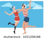 couple dressed in 1920s style... | Shutterstock .eps vector #1021208188