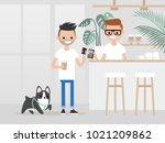 cozy coffee shop. modern... | Shutterstock .eps vector #1021209862