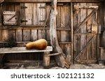 Facade Of An Old Wooden Shack...