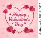 happy valentines day banner... | Shutterstock .eps vector #1021215052