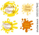 honey splash set of labels.... | Shutterstock .eps vector #1021217842