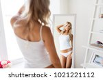 beauty  slimming and people... | Shutterstock . vector #1021221112