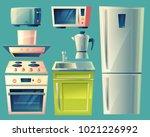 vector modern kitchen interior... | Shutterstock .eps vector #1021226992