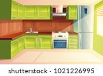 vector modern kitchen interior... | Shutterstock .eps vector #1021226995