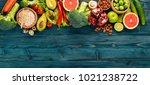 healthy food background.... | Shutterstock . vector #1021238722