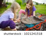 two funny little girls playing... | Shutterstock . vector #1021241518