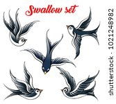 set of the swallow emblem.... | Shutterstock .eps vector #1021248982