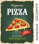 retro fast food pepperoni pizza ... | Shutterstock .eps vector #1021249375