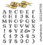 set of tattoo style letters and ... | Shutterstock .eps vector #1021249705