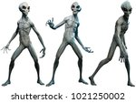 grey aliens 3d illustration | Shutterstock . vector #1021250002