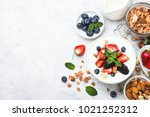 greek yogurt granola and berry... | Shutterstock . vector #1021252312