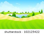 green landscape with lake trees ... | Shutterstock .eps vector #102125422