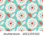 seamless floral pattern in... | Shutterstock .eps vector #1021255102