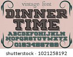 vintage font typeface... | Shutterstock .eps vector #1021258192