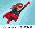 superhero woman in flight....   Shutterstock .eps vector #1021279432