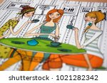 girls having coffee  colorful... | Shutterstock . vector #1021282342