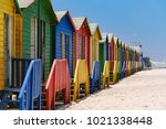 colorful bathing houses at the...