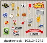 vector soccer stickers set. all ... | Shutterstock .eps vector #1021343242