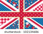 cute british flag in shabby... | Shutterstock .eps vector #102134686
