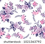 Stock vector roses flower pattern with leaves for fashion print 1021363792