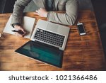 business person is making notes ...   Shutterstock . vector #1021366486