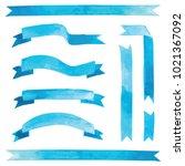 vector watercolor blue ribbons... | Shutterstock .eps vector #1021367092