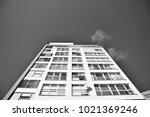 facade of a modern apartment...   Shutterstock . vector #1021369246
