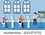 cartoon senior people and... | Shutterstock .eps vector #1021373752