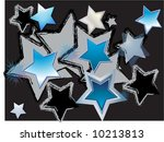Turquoise Stars on Black Celebration Background - stock photo