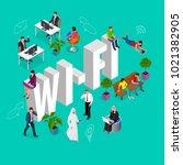 isomeric wi fi concept. web... | Shutterstock . vector #1021382905