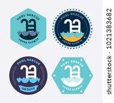 modern badge pool   Shutterstock .eps vector #1021383682