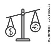 scale dolar and euro outline... | Shutterstock .eps vector #1021400278