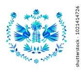 vector folk mexican otomi style ... | Shutterstock .eps vector #1021414726