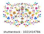 vector folk mexican otomi style ... | Shutterstock .eps vector #1021414786