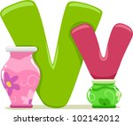 Illustration Featuring the Letter V - stock vector