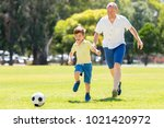 young happy father and excited... | Shutterstock . vector #1021420972