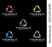 abstract 3d triangle logo... | Shutterstock .eps vector #1021421698