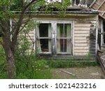 windows on an unsafe abandoned...   Shutterstock . vector #1021423216