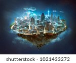 fantasy island floating in the... | Shutterstock . vector #1021433272