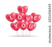 hearts ballon realistic... | Shutterstock . vector #1021436545