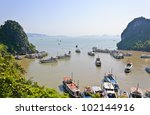 tourist boats in halong bay ... | Shutterstock . vector #102144916
