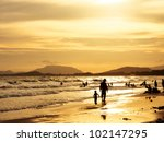 sunset on the beach | Shutterstock . vector #102147295