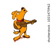 dog howling with guitar | Shutterstock . vector #1021475962