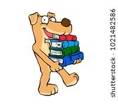 dog with books | Shutterstock . vector #1021482586