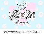 valentines day hand drawn... | Shutterstock .eps vector #1021483378