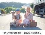 waiting at vintage railroad... | Shutterstock . vector #1021485562