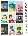 set of different people on... | Shutterstock .eps vector #1021495366