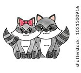 grated raccoon couple cute... | Shutterstock .eps vector #1021500916